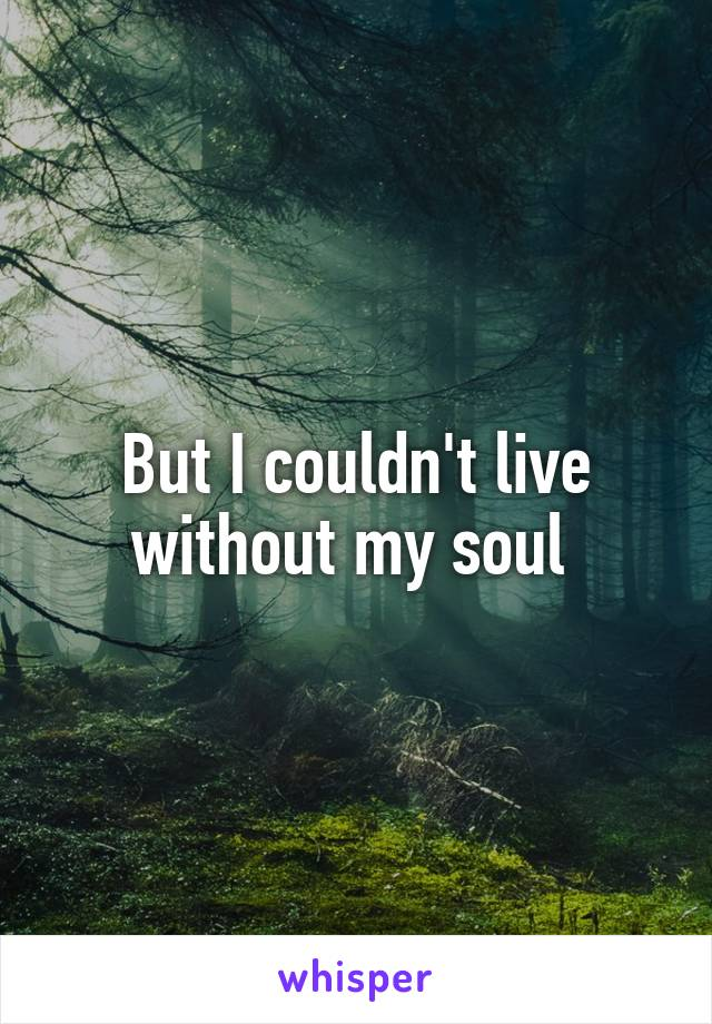 But I couldn't live without my soul
