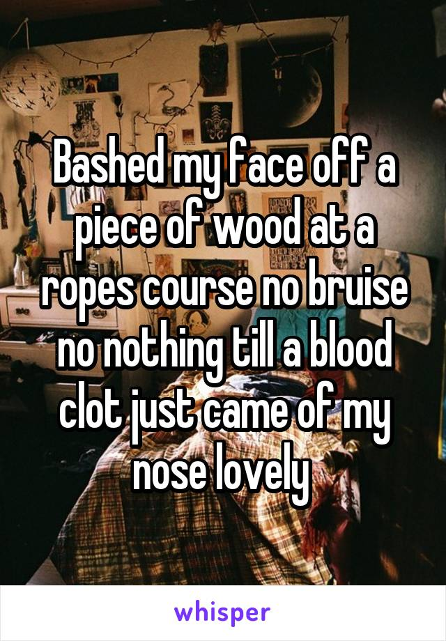 Bashed my face off a piece of wood at a ropes course no bruise no nothing till a blood clot just came of my nose lovely