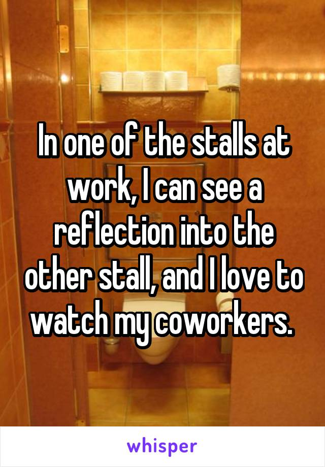 In one of the stalls at work, I can see a reflection into the other stall, and I love to watch my coworkers.