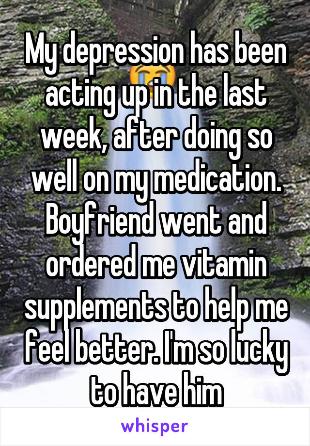 My depression has been acting up in the last week, after doing so well on my medication. Boyfriend went and ordered me vitamin supplements to help me feel better. I'm so lucky to have him