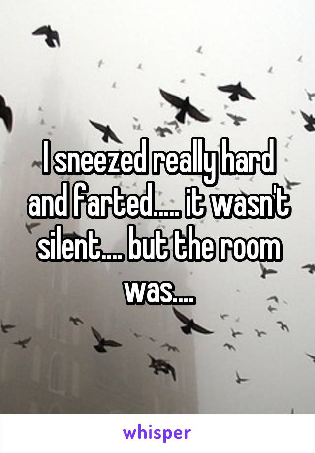 I sneezed really hard and farted..... it wasn't silent.... but the room was....
