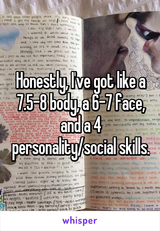Honestly, I've got like a 7.5-8 body, a 6-7 face, and a 4 personality/social skills.