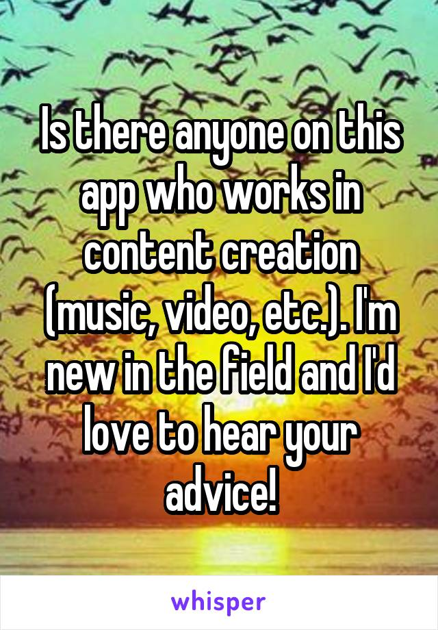 Is there anyone on this app who works in content creation (music, video, etc.). I'm new in the field and I'd love to hear your advice!