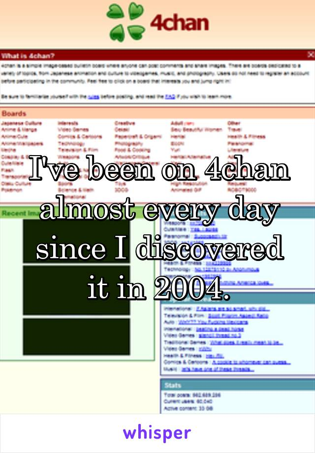 I've been on 4chan almost every day since I discovered it in 2004.