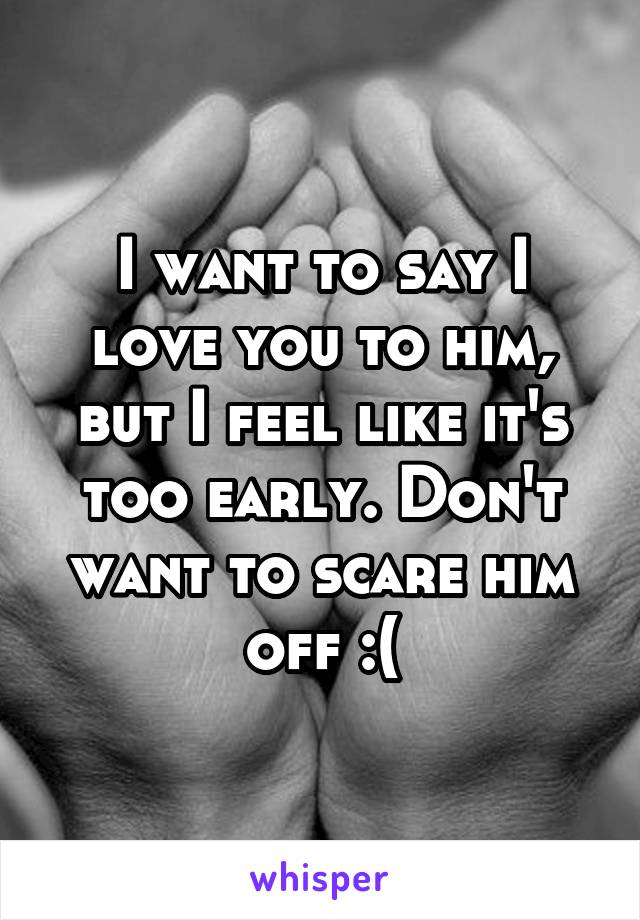 I want to say I love you to him, but I feel like it's too early. Don't want to scare him off :(