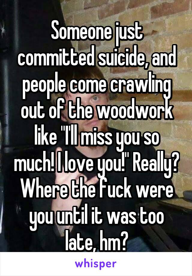 """Someone just committed suicide, and people come crawling out of the woodwork like """"I'll miss you so much! I love you!"""" Really? Where the fuck were you until it was too late, hm?"""