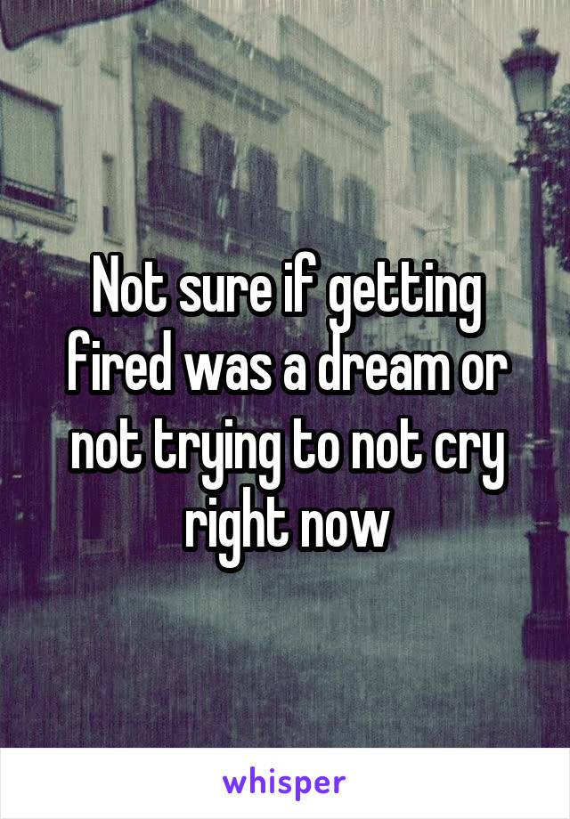 Not sure if getting fired was a dream or not trying to not cry right now