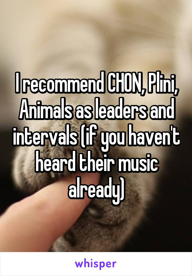 I recommend CHON, Plini, Animals as leaders and intervals (if you haven't heard their music already)