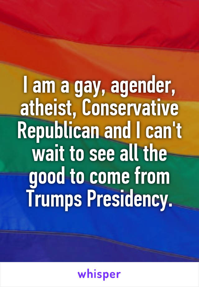I am a gay, agender, atheist, Conservative Republican and I can't wait to see all the good to come from Trumps Presidency.