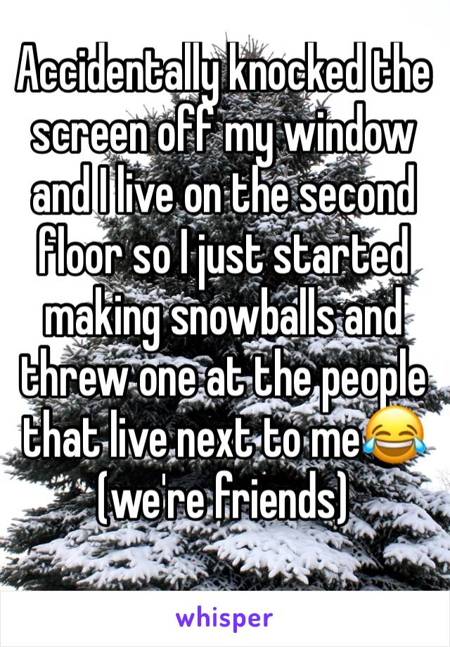 Accidentally knocked the screen off my window and I live on the second floor so I just started making snowballs and threw one at the people that live next to me😂(we're friends)