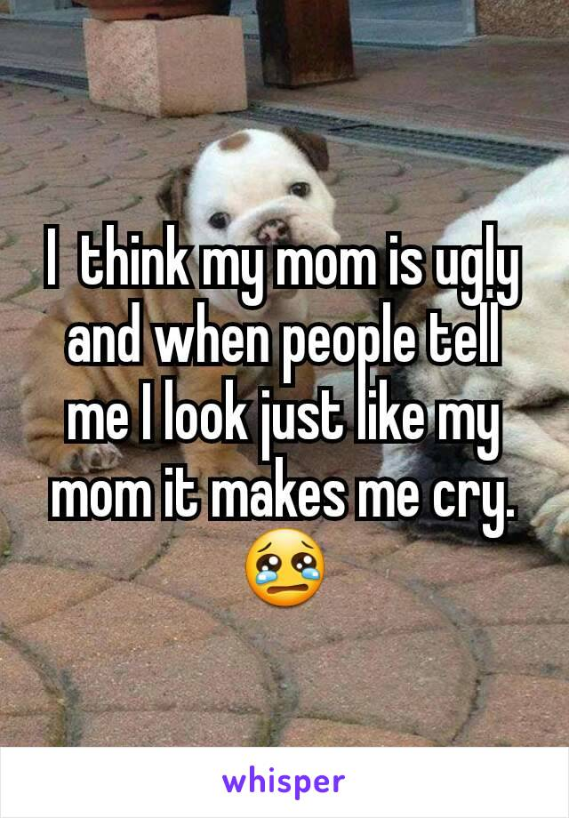 I  think my mom is ugly and when people tell me I look just like my mom it makes me cry. 😢
