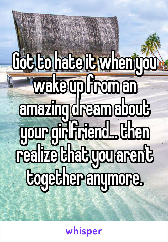 Got to hate it when you wake up from an amazing dream about your girlfriend... then realize that you aren't together anymore.