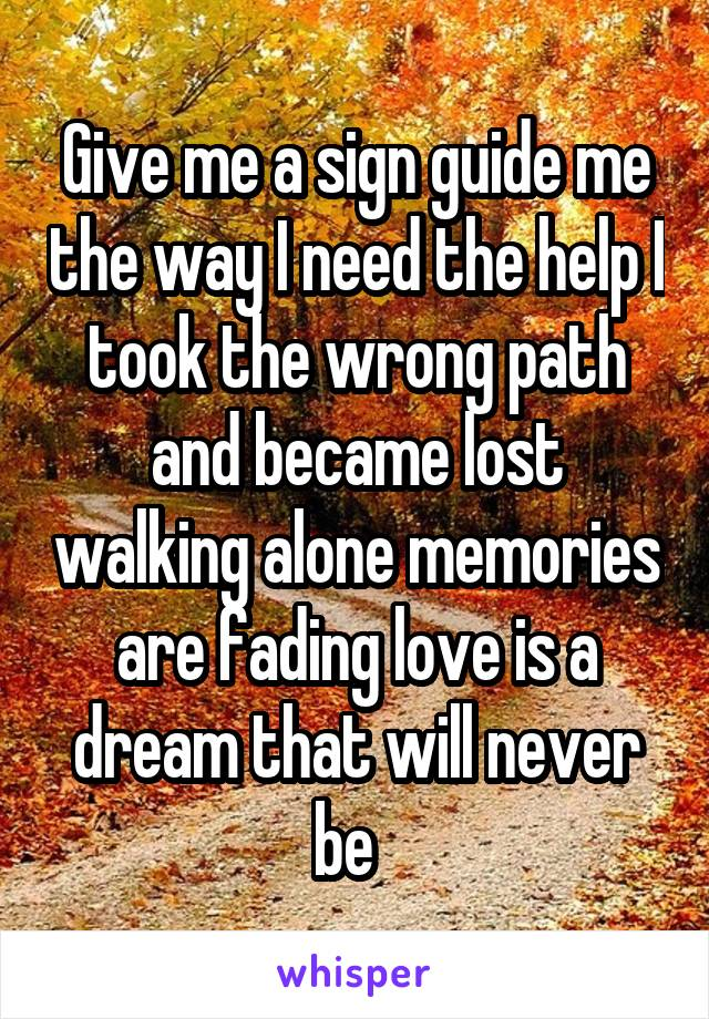 Give me a sign guide me the way I need the help I took the wrong path and became lost walking alone memories are fading love is a dream that will never be