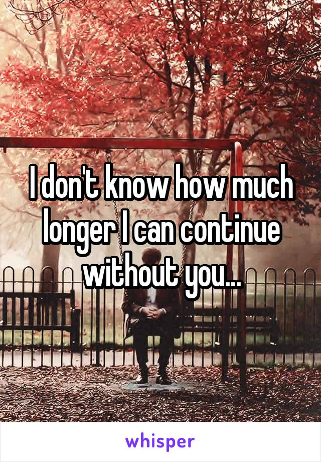 I don't know how much longer I can continue without you...