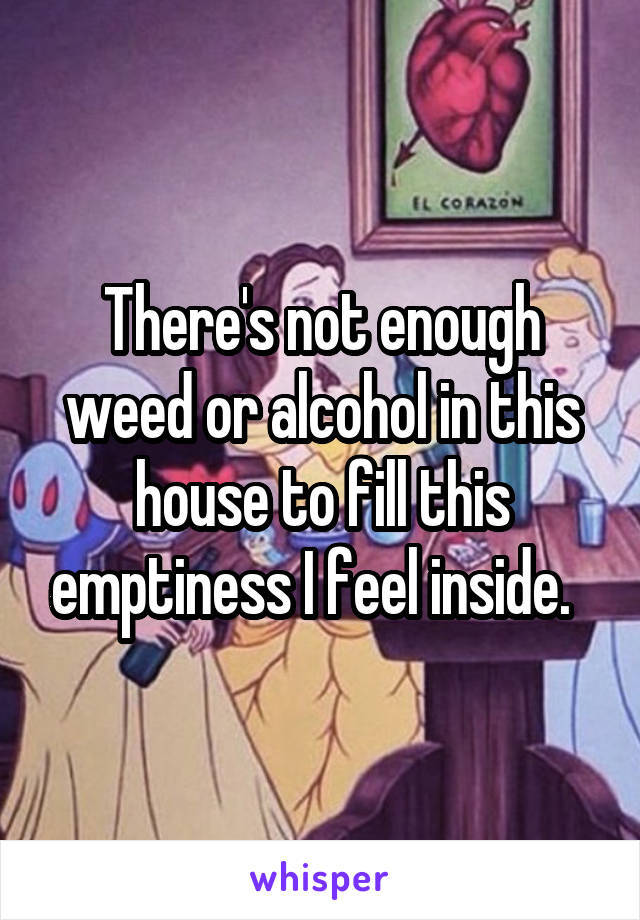 There's not enough weed or alcohol in this house to fill this emptiness I feel inside.