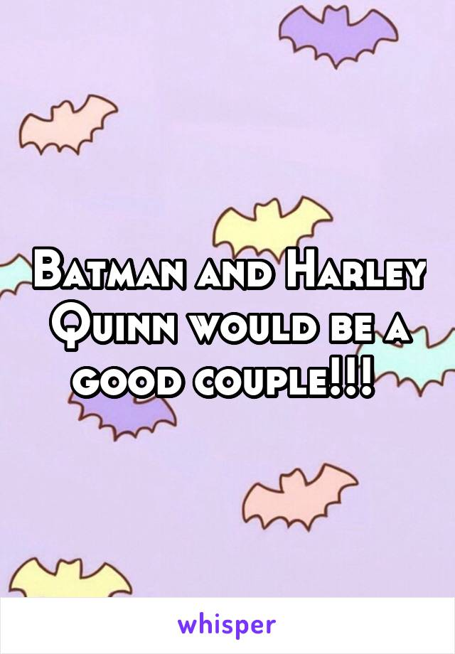 Batman and Harley Quinn would be a good couple!!!