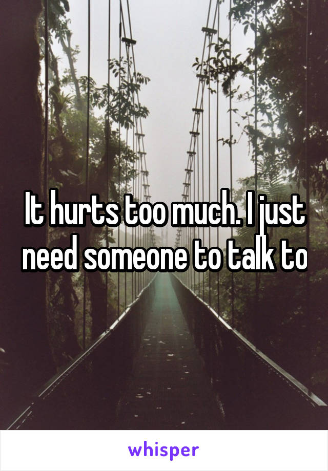 It hurts too much. I just need someone to talk to