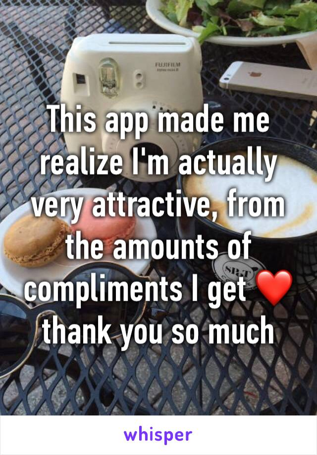 This app made me realize I'm actually very attractive, from the amounts of compliments I get ❤️ thank you so much