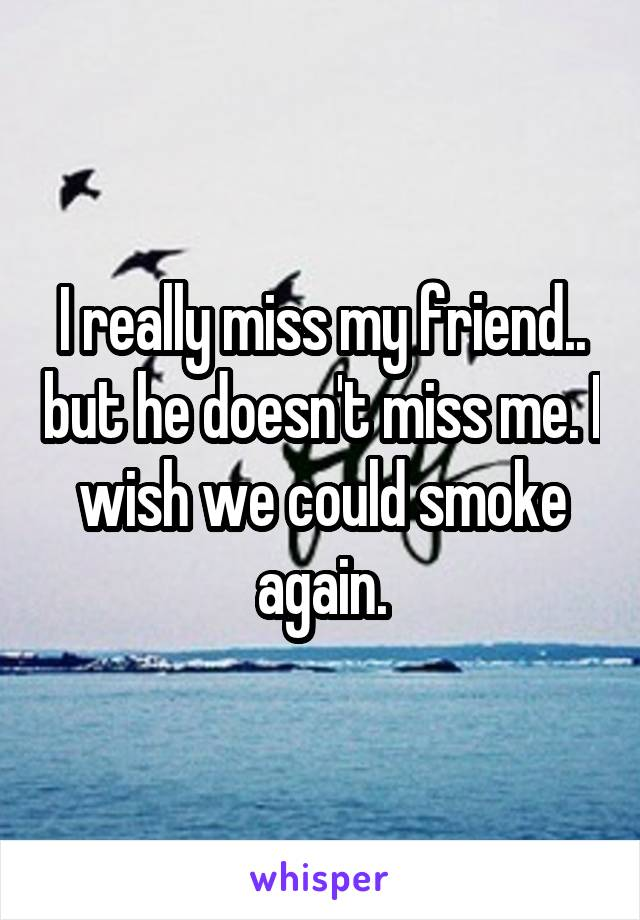 I really miss my friend.. but he doesn't miss me. I wish we could smoke again.