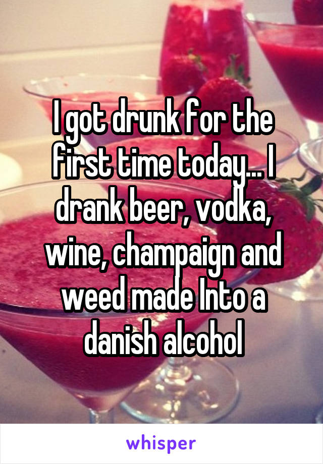 I got drunk for the first time today... I drank beer, vodka, wine, champaign and weed made Into a danish alcohol