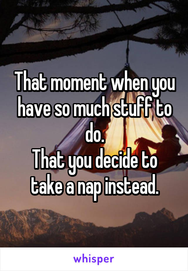 That moment when you have so much stuff to do. That you decide to take a nap instead.