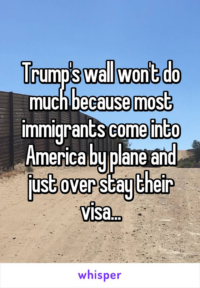 Trump's wall won't do much because most immigrants come into America by plane and just over stay their visa...