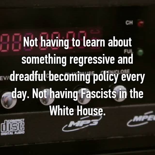 Not having to learn about something regressive and dreadful becoming policy every day. Not having Fascists in the White House.
