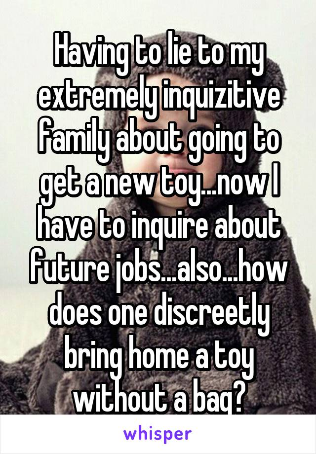 Having to lie to my extremely inquizitive family about going to get a new toy...now I have to inquire about future jobs...also...how does one discreetly bring home a toy without a bag?