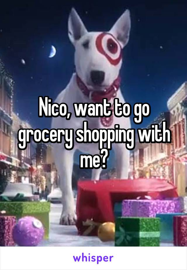 Nico, want to go grocery shopping with me?