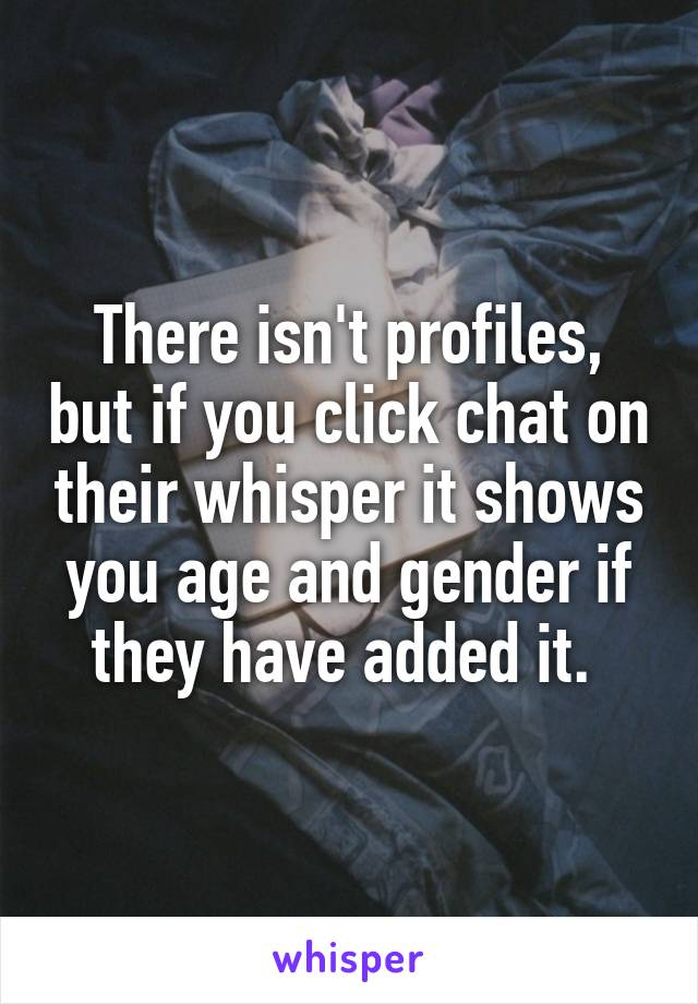 How to view someones whisper profile