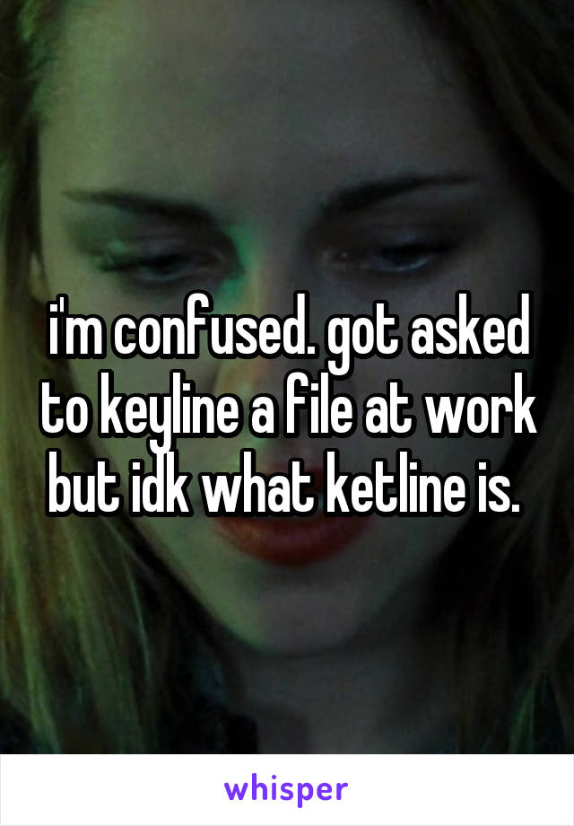 i'm confused. got asked to keyline a file at work but idk what ketline is.