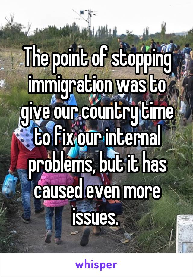 The point of stopping immigration was to give our country time to fix our internal problems, but it has caused even more issues.