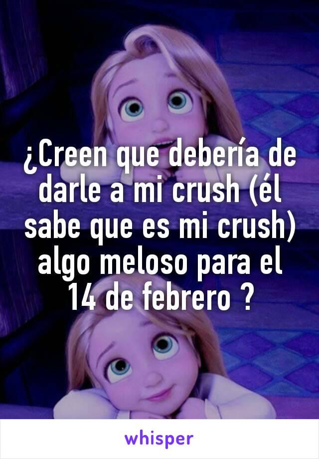 ¿Creen que debería de darle a mi crush (él sabe que es mi crush) algo meloso para el 14 de febrero ?