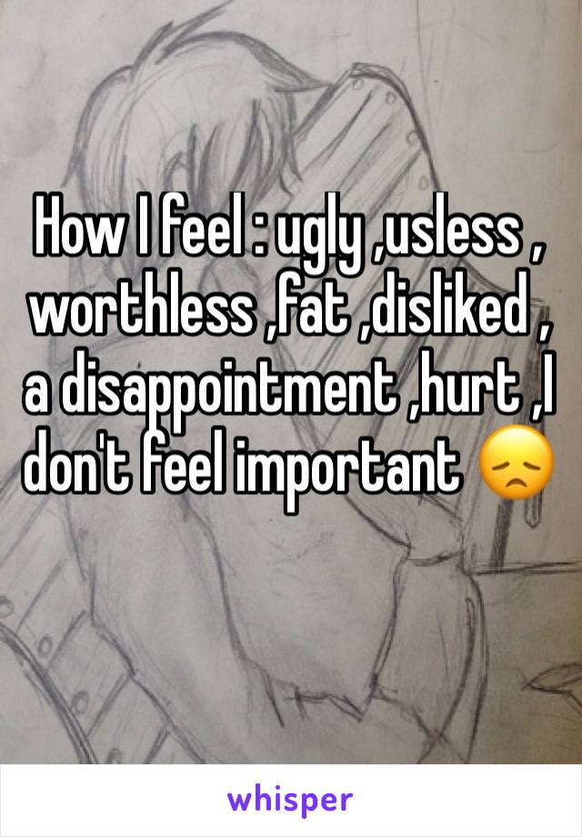 How I feel : ugly ,usless , worthless ,fat ,disliked ,a disappointment ,hurt ,I don't feel important 😞