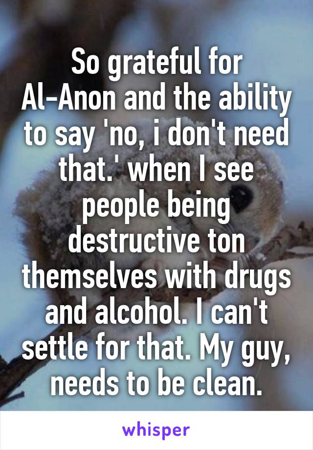 So grateful for Al-Anon and the ability to say 'no, i don't need that.' when I see people being destructive ton themselves with drugs and alcohol. I can't settle for that. My guy, needs to be clean.