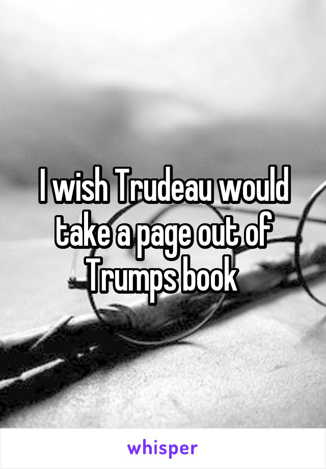 I wish Trudeau would take a page out of Trumps book
