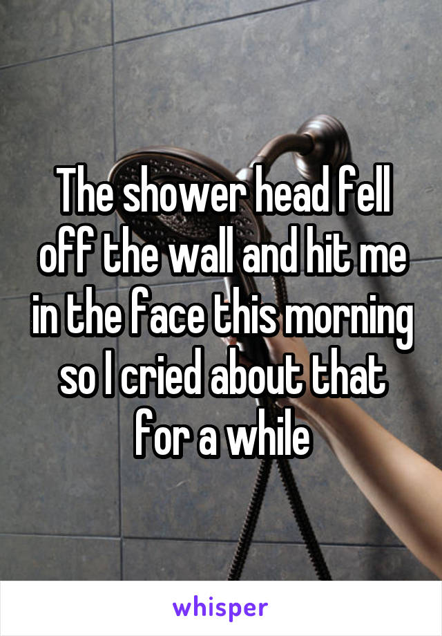 The shower head fell off the wall and hit me in the face this morning so I cried about that for a while