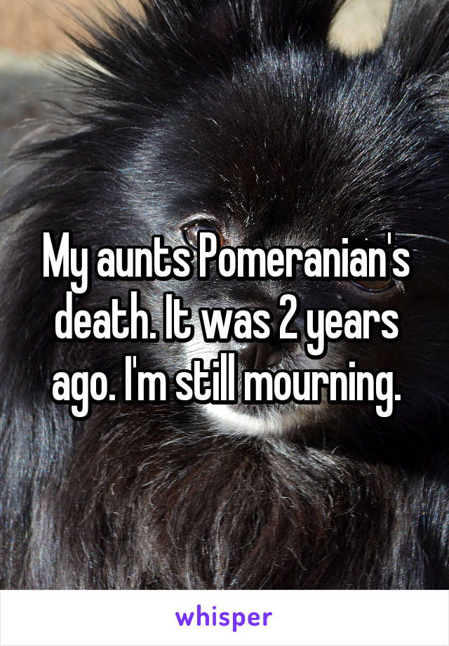 My aunts Pomeranian's death. It was 2 years ago. I'm still mourning.