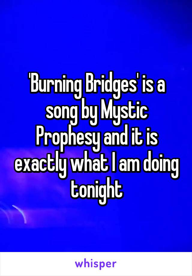 'Burning Bridges' is a song by Mystic Prophesy and it is exactly what I am doing tonight