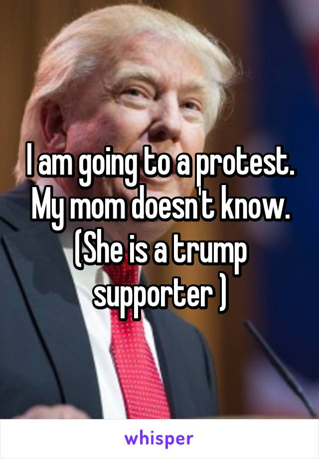 I am going to a protest. My mom doesn't know. (She is a trump supporter )
