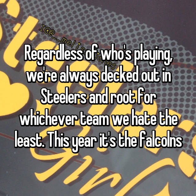 Regardless of who's playing, we're always decked out in Steelers and root for whichever team we hate the least. This year it's the falcolns