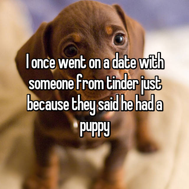 I once went on a date with someone from tinder just because they said he had a puppy