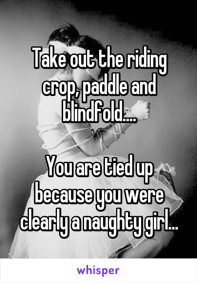 Take Out The Riding Crop Paddle And Blindfold You Are Tied Up