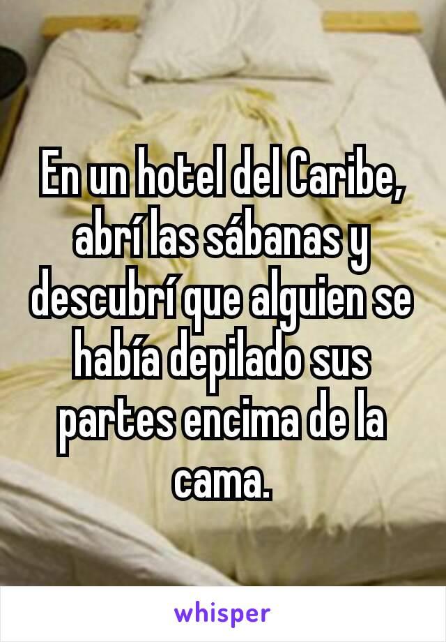 En un hotel del Caribe, abrí las sábanas y descubrí que alguien se había depilado sus partes encima de la cama.