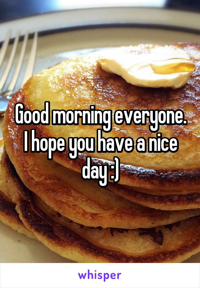 Good morning everyone. I hope you have a nice day :)