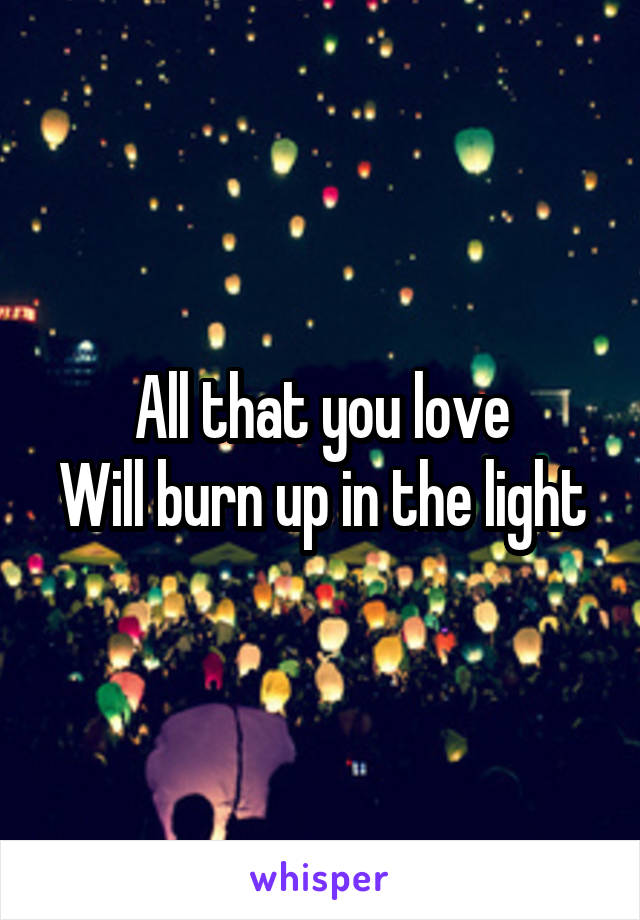 All that you love Will burn up in the light