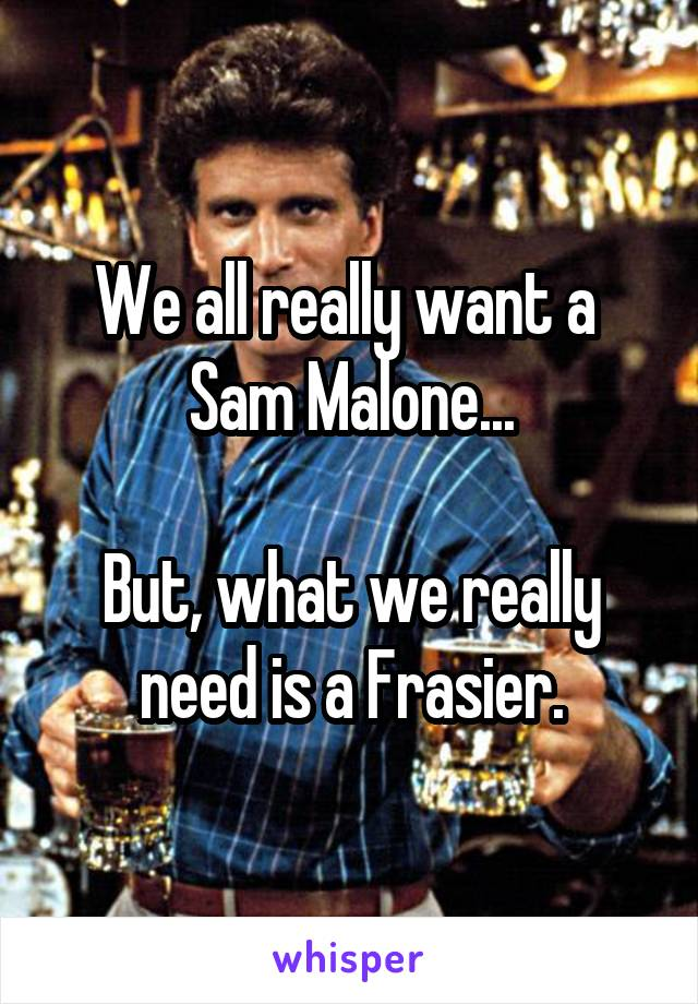 We all really want a  Sam Malone...  But, what we really need is a Frasier.