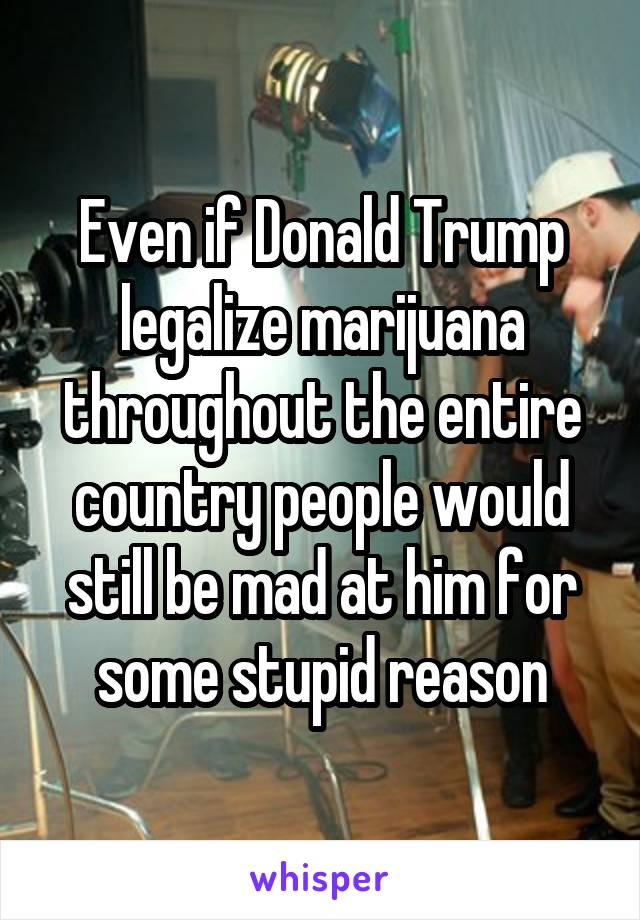 Even if Donald Trump legalize marijuana throughout the entire country people would still be mad at him for some stupid reason