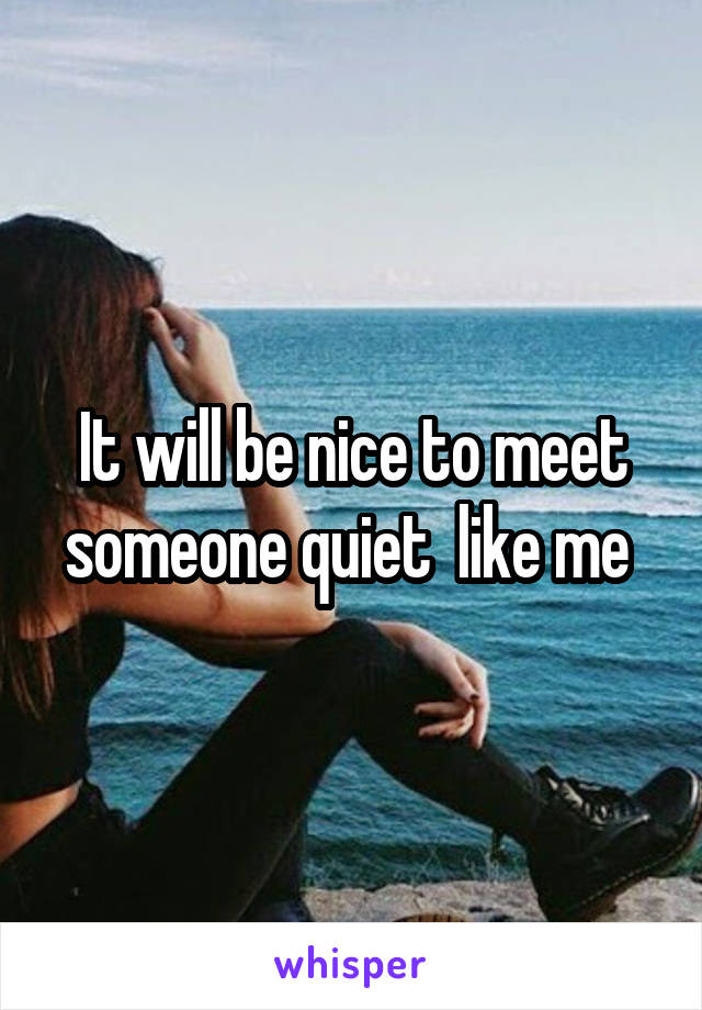 It will be nice to meet someone quiet  like me
