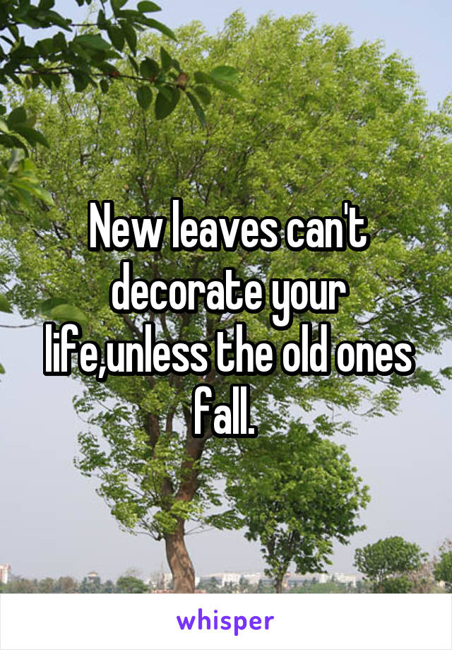 New leaves can't decorate your life,unless the old ones fall.